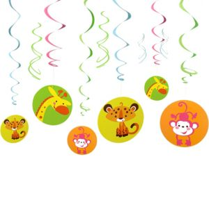 Fisher-Price Jungle Baby Shower Swirl Decorations 12ct
