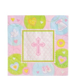 Pink Sweet Religious Lunch Napkins 16ct