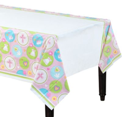 Pink Sweet Religious Plastic Table Cover