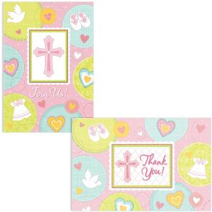 Pink Sweet Religious Invitations & Thank You Notes for 8