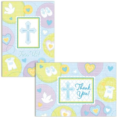 Blue Sweet Religious Invitations and Thank You Notes Set 16ct