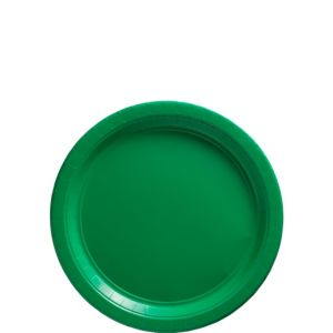 Big Party Pack Festive Green Paper Dessert Plates 50ct