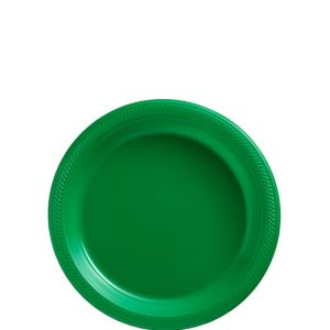 Big Party Pack Festive Green Plastic Dessert Plates 50ct