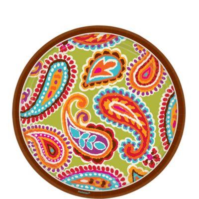 Bright Paisley Dessert Plates 8ct