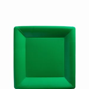 Festive Green Paper Square Dessert Plates 20ct