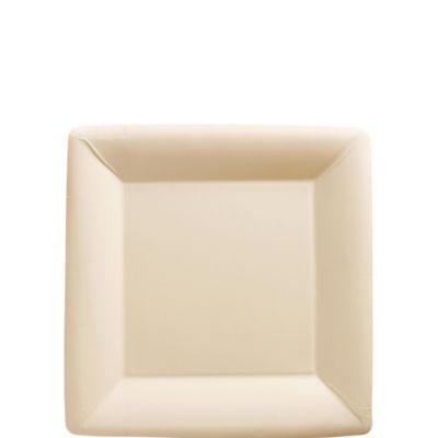 Vanilla Paper Square Dessert Plates 20ct