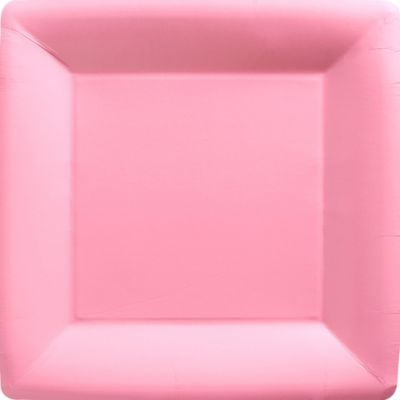 Pink Paper Square Dinner Plates 20ct