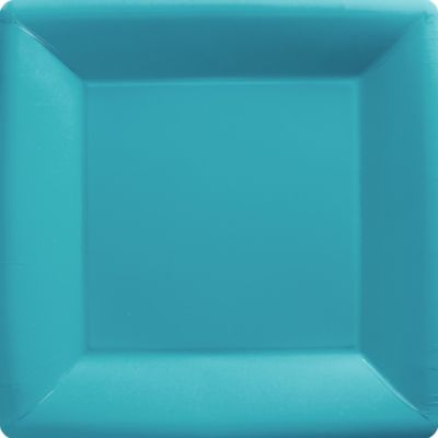 Caribbean Blue Paper Square Dinner Plates 20ct