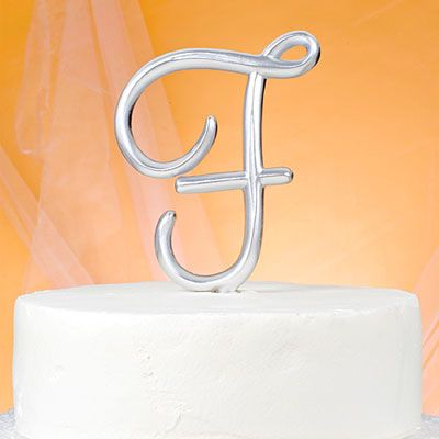 Monogram F Wedding Cake Topper