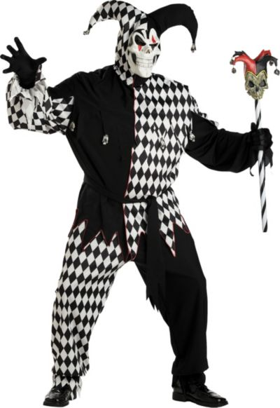 Adult Black and White Evil Jester Costume Plus Size