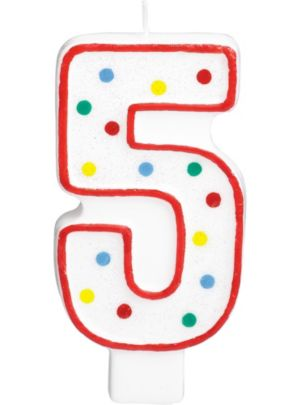 Giant Glitter Red Outline Number 5 Birthday Candle
