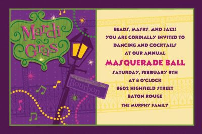 Bourbon Street Custom Mardi Gras Invitations