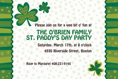 Lucky Wishes St. Patricks Day Custom Invitation