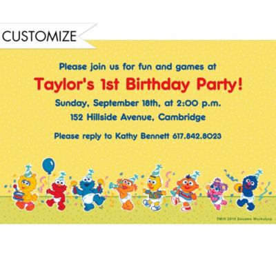 Custom Sesame Street 1st Birthday Invitations