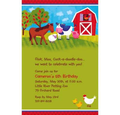 Custom Barnyard Invitations