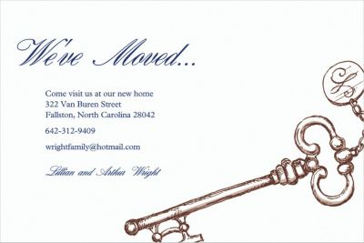 Custom Vintage Key Moving Announcements