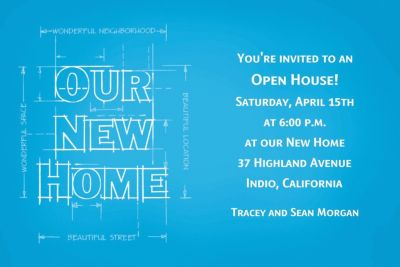 New Home Blueprints Custom Housewarming Invitation
