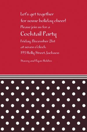 Custom Polkadot Red Christmas Invitations
