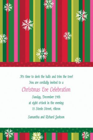 Custom Cool Holiday Stripe Invitations