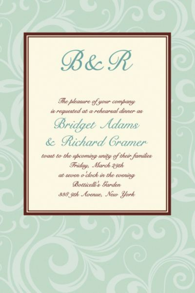 Floating Border Mint Custom Invitation
