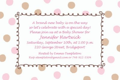 Custom Pink Dots Border Baby Shower Invitations