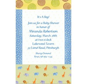 Custom Jungle Animal Patchwork Baby Shower Invitations