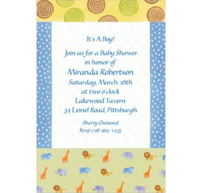 Jungle Animal Patchwork Custom Baby Shower Invitation