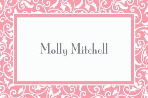 Custom Pink Ornamental Scroll Thank You Notes