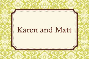 Custom Classic Damask Lime Border Thank You Notes