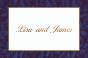 Custom Blue Damask Thank You Notes