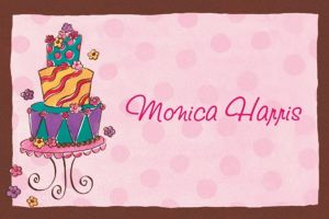 Custom Girly Cake Birthday Thank You Notes