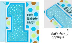 Premium Glitter One Today Boy 1st Birthday Invitations 8ct