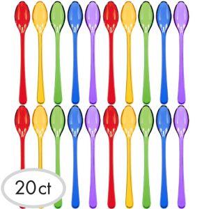 Mini Rainbow Plastic Spoons 20ct