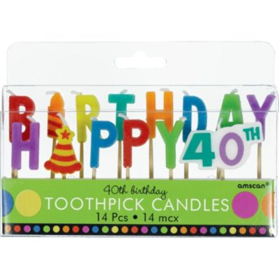 Dots & Stripes 40th Birthday Candle Picks