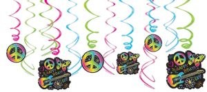 Neon Doodle Swirl Decorations 12ct