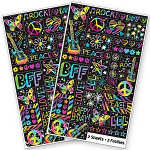 Neon Doodle Stickers 2 Sheets