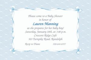 Custom Blue Lace and Bows Baby Shower Invitations