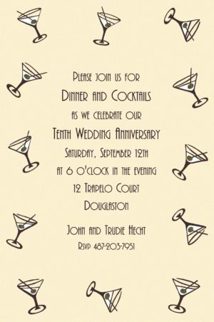 Custom Mini Martini Border Invitations