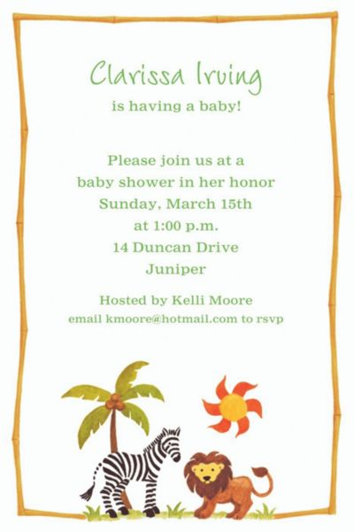 Custom Zebra & Friends Baby Shower Invitations