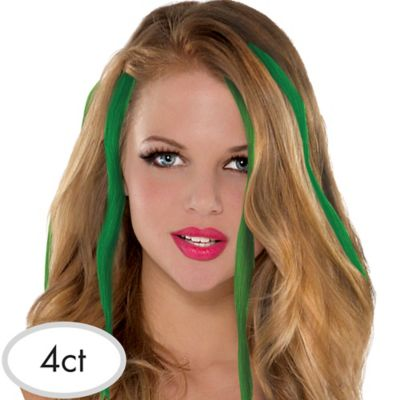 St. Patrick's Day Green Hair Extensions 4ct