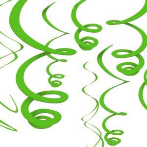 Kiwi Green Swirl Decorations12ct