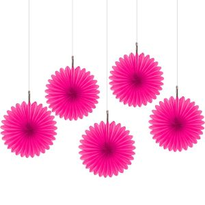 Bright Pink Mini Paper Fan Decorations 5ct