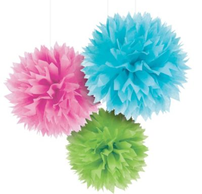 Multicolor Fluffy Decorations 16in 3ct
