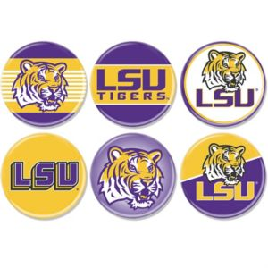 LSU Tigers Buttons 6ct