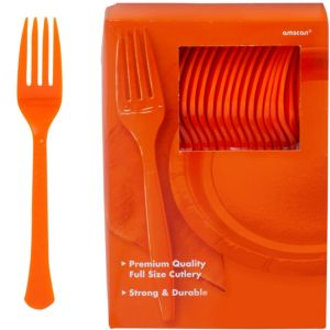 Big Party Pack Orange Premium Plastic Forks 100ct