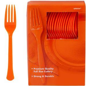 Big Party Pack Orange Premium Plastic Forks 100ct