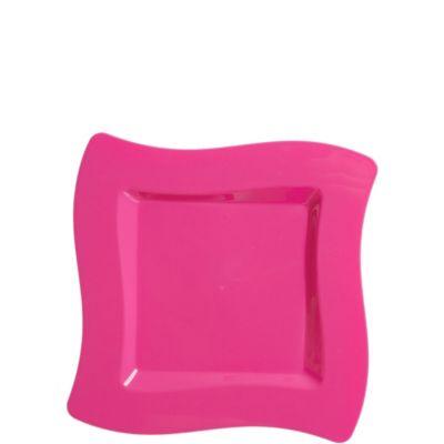 Bright Pink Premium Plastic Wavy Dessert Plates 10ct