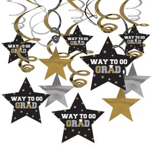 Black, Gold & Silver Graduation Swirl Decorations30ct