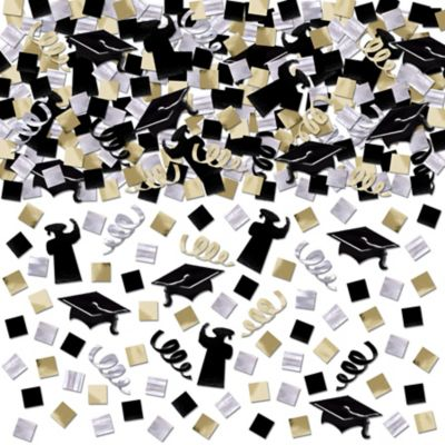 Black, Gold and Silver Graduation Confetti Mega Pack