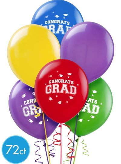 Graduation Balloons 72ct - Primary Color